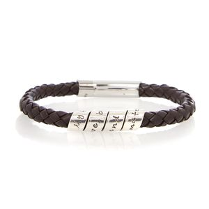 Men's Love Scroll Brown Leather Bracelet - bracelets