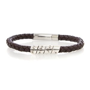 18th Scroll Men's Brown Leather Bracelet - men's jewellery