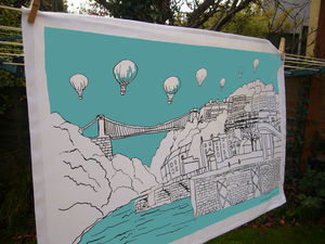 Bristol Tea Towel 'Clifton Balloons' Teal - kitchen linen
