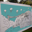 Bristol Tea Towel 'Clifton Balloons' Teal