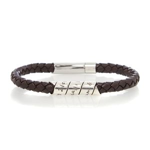 21st Scroll Men's Brown Leather Bracelet
