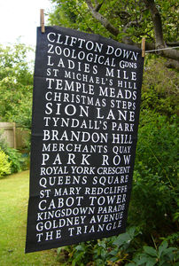 'Bristol Places' Tea Towel Black