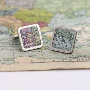 Personalised Vintage Map Cufflinks - groom's accessories