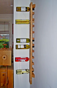 Wine Rack Wall Mounted Handmade In Solid Oak Long - furniture