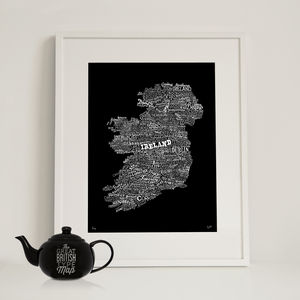 Typographic Map Of Ireland - contemporary art