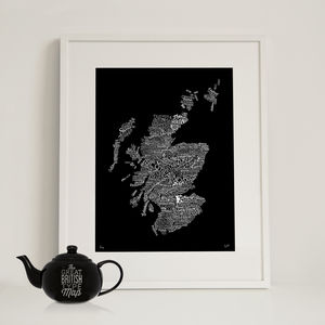 Typographic Map Of Scotland - posters & prints