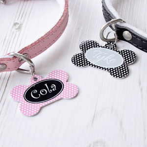 Personalised Polka Dot Pet Tag Bone Shaped - walking
