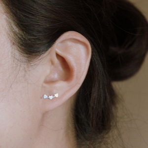 Silver Hearts Ear Studs - valentine's gifts for her