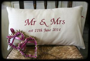 Handmade Embroidered Mr And Mrs Wedding Cushion - bedroom