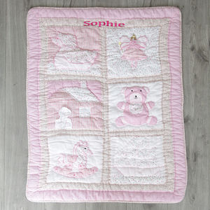 Girls Personalised Patchwork Baby Quilt - gifts for babies