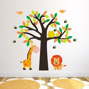 Giraffe And Lion Tree Wall Sticker