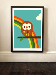 Children's Owl And Rainbow Art Print - posters & prints