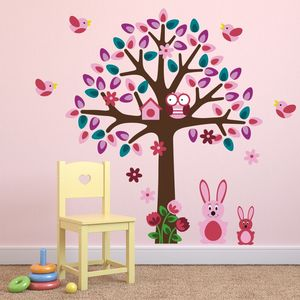 Woodland Tree With Bunnies Wall Sticker - wall stickers
