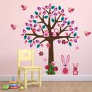 Woodland Tree With Bunnies Wall Sticker