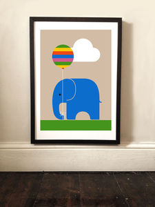 Children's Elephant And Balloon Art Print - posters & prints