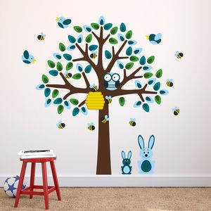 Blue Tree With Bunnies Wall Sticker - wall stickers