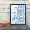 Personalised Gift For Her; 'Only You' A3 Love Print