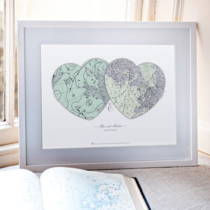 Personalised Anniversary Hearts Weather Map Print