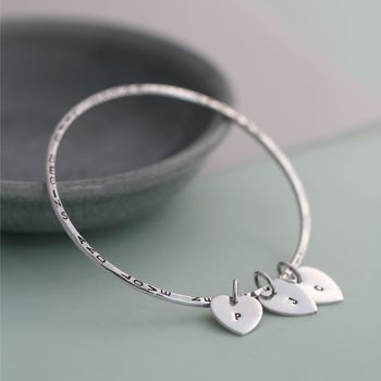 Personalised Silver Heart Tag Bangle