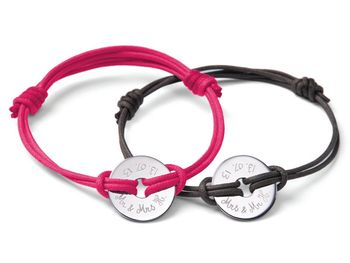 Personalised Mr & Mrs Open Disc Bracelet Duo