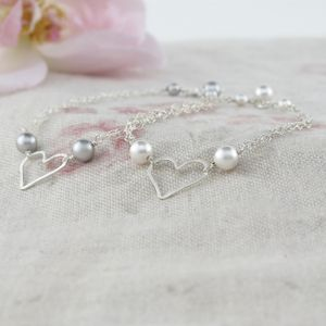 Amara Sterling Silver Heart And Pearl Bracelet - gifts for her