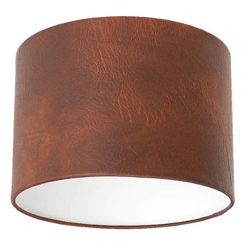Tan Brown Leather Effect Lampshade
