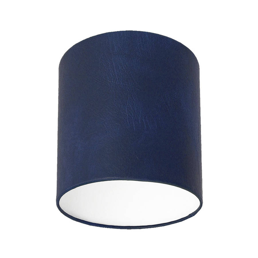 Navy blue leather effect lampshade by quirk notonthehighstreet navy blue leather effect lampshade small aloadofball