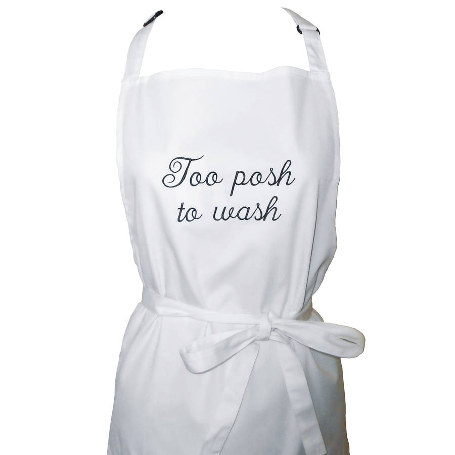 Embroidered white apron