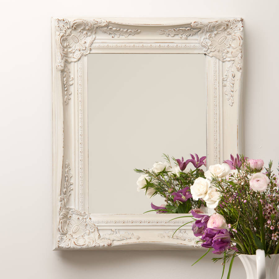 ornate french style white distressed mirror by hand