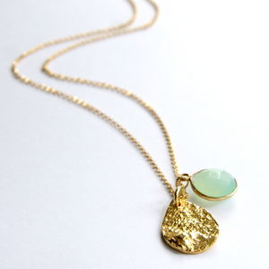 Chalcedony And Precious Metal Charm Necklace