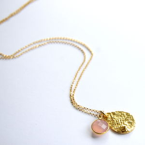 Pink Chalcedony And 14ct Gold Necklace