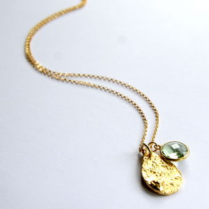 14ct Gold And Green Amethyst Charm Necklace
