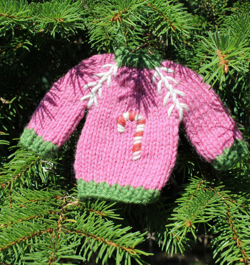 set of three hand knitted christmas jumper decorations by lime tree ...