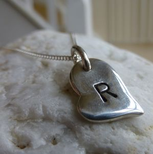 Personalised Silver Heart Charm Necklace - children's jewellery