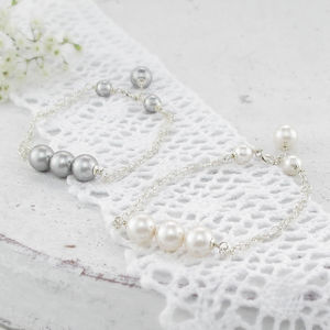 Beatrice Pearl Trio And Sterling Silver Bracelet - women's jewellery