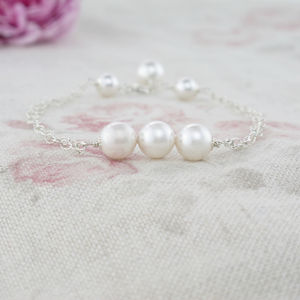 Beatrice Pearl Trio And Sterling Silver Bracelet - wedding jewellery
