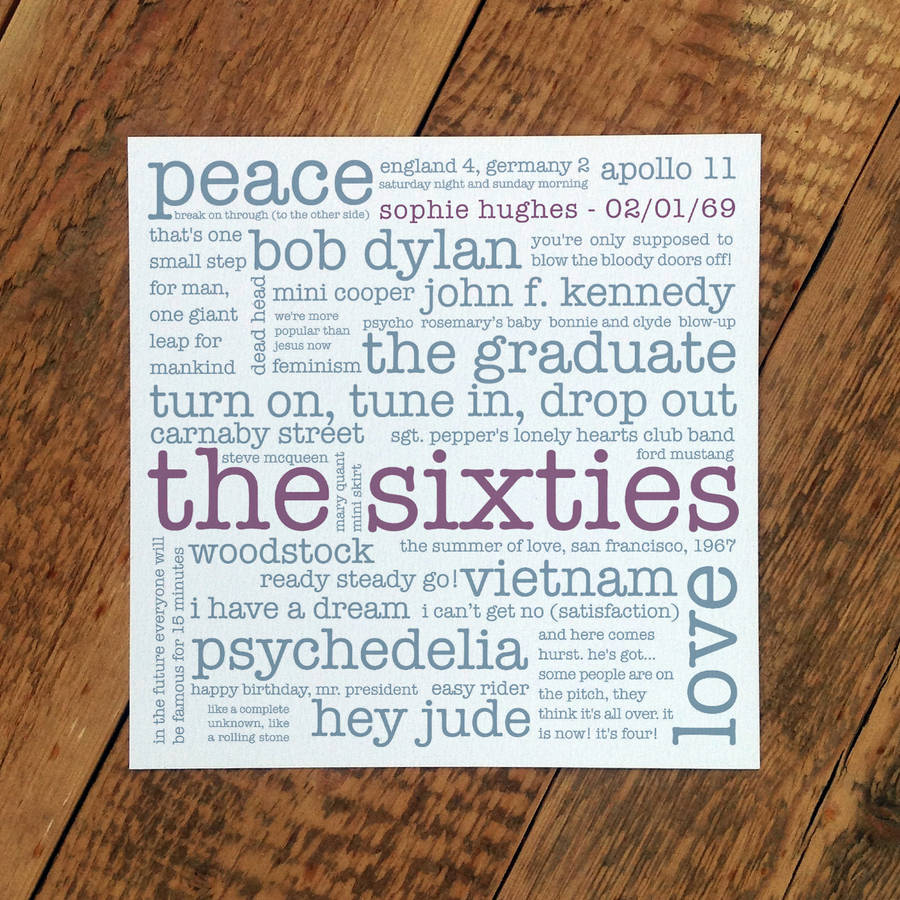 50th birthday card the sixties by coulson macleod – Birthday Greeting from the President