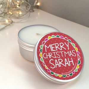 Personalised Christmas Scented Candle Tin - home accessories