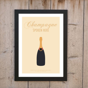 'Champagne Spoken Here' Personalised Print
