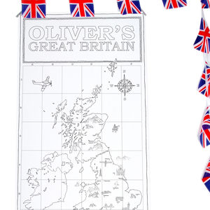Colour In UK Map Poster With Stickers - posters & prints