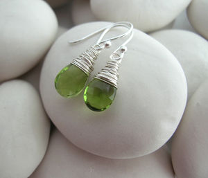 Peridot Quartz Gemstone Earrings - earrings