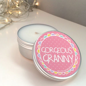 'Gorgeous Granny' Scented Candle Tin - lighting