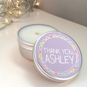 'Thank You' Personalised Scented Candle Tin - table decoration