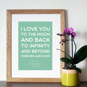 Personalised 'Moon And Back' Quote Print Or Canvas