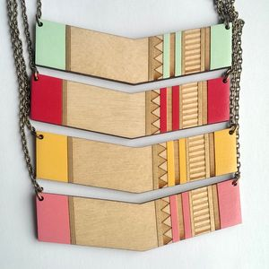 Wooden Chevron Necklace Geometric/Aztec Pattern - necklaces & pendants