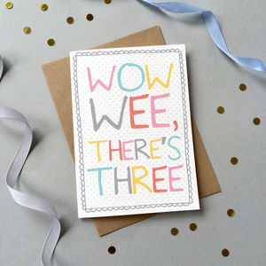 'Wow Wee' Triplets Card - new baby cards