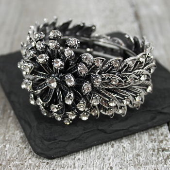 Crystal Metal Leaf Bracelet