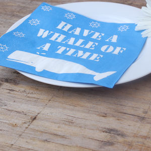 'Have A Whale Of A Time' Paper Napkins - table linen