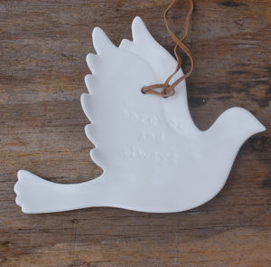 White Ceramic Dove Decoration With Romantic Messages - room signs