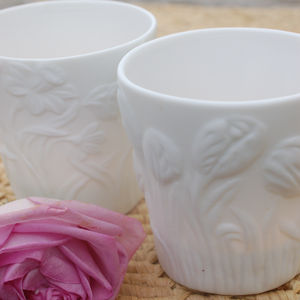 Set Of Two White Floral Ceramic Tea Lights
